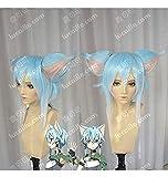 Seupeak Anime Sword Art Online Asada Shino Sinon Cosplay Peluca Pelucas de Pelo sintético Resistente al Calor Corto + Peluca Cap + Orejas