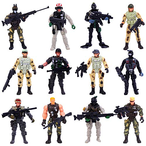 ELCOHO 12 Pieces Army Toy Soldiers Action Figures Assorted Military Figures Playsets in Various Poses