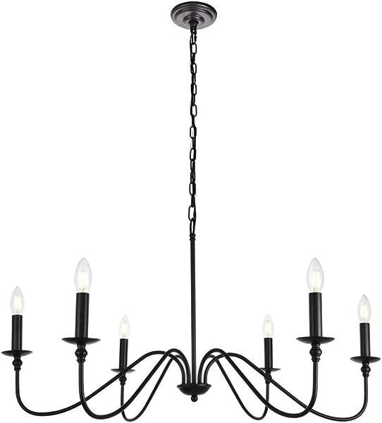 6 Light Chandelier In Matte Black