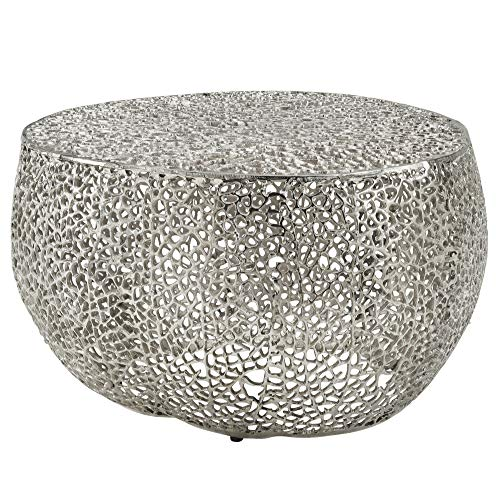 Wohnling Tavolino da salotto, 65 x 45 x 65 cm, in alluminio argentato, design rotondo | tavolino da salotto moderno | piccolo orientale
