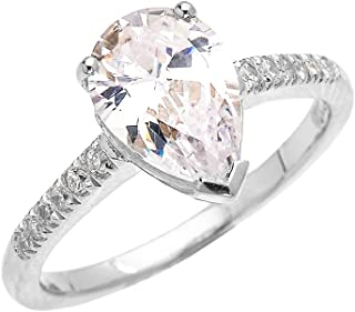 6886f5728 10k White Gold 3 Carat CZ Pear Shape Proposal Engagement Ring