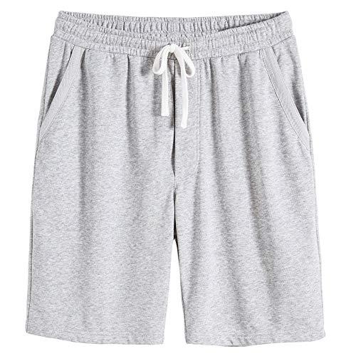 VANCOOG Men's Casual Cotton Knit Short Drawstring Elastic Yoga Gym Shorts-Light Grey-L