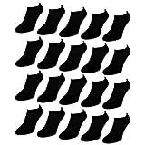 10 bis 50 Paar Comfort Sneaker Socken Damen und Herren Schwarz und Weiß Baumwolle (40-46 Schwarz | 20 Paar)