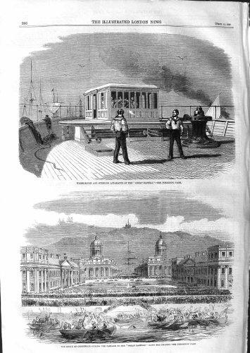 Old Original Antik viktorianischen Print 1859Wheelhouse Great Eastern Schiff Greenwich Themse 266p135