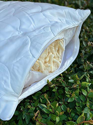 Sleep and Beyond Shredded Latex and Wool Pillow, 100% Natural Adjustable Hypoallergenic Pillow, High Loft, Plush, Standart
