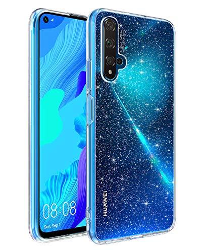 BENTOBEN Huawei nova 5T Hülle Handyhülle Glitzer, Huawei nova 5T Hülle Slim Glitzer Anti Gelb Silikon Bumper Cover Ultra dünn Hülle für Huawei nova 5T / Honor 20 Bling Transparent