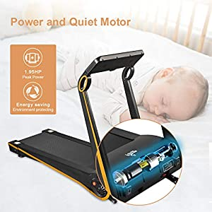 Fisup Foldable Treadmill Fixed Incline for Home Office Use Exercise Walking Machine Free Install