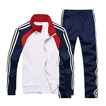 Nuomantic Men s Athletic Full Zip Jogging Tracksuit Casual Running Sweat Suits Set White Medium