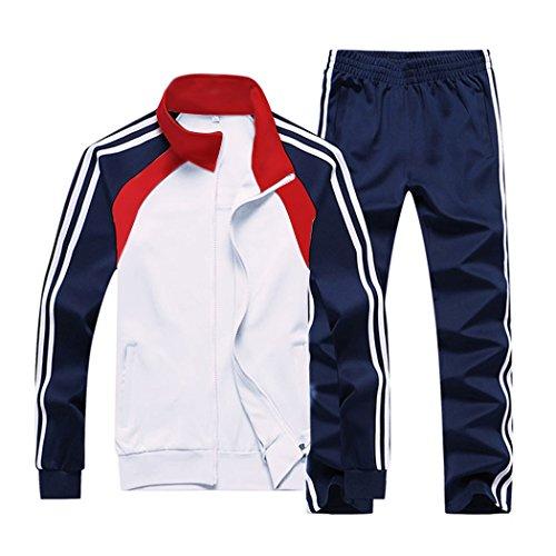Nuomantic Men's Athletic Full Zip Jogging Tracksuit Casual Running Sweat Suits Set, White, Medium