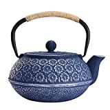 Cast Iron Teapot, Japanese Style Tetsubin, Tea Kettle with Removable Stainless Steel, Internal Enamel, Blue Iron Teapots for Coffee,Tea Bags,Loose Tea, Floral Pattern, 34oz / 1000ml