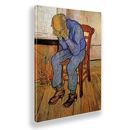 Giallobus - Cuadro - Vincent Van Gogh - En el umbral de la eternidad - Lienzo - 100x140 - Listo para Colgar - Cuadros Modernos para el hogar