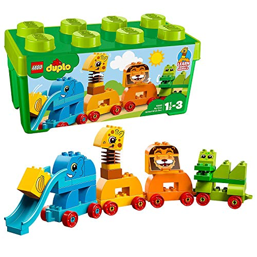 LEGO 10863 DUPLO My First Animal Brick Box Storage Set with Zoo Train, Preschool Toys for 1.5-3 Years Old Boys and Girls