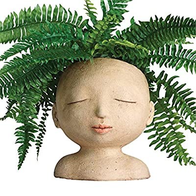 """ART & ARTIFACT Head of a Lady Indoor/Outdoor Resin Planter - Plants Look Like Hair, 9"""" Tall"""