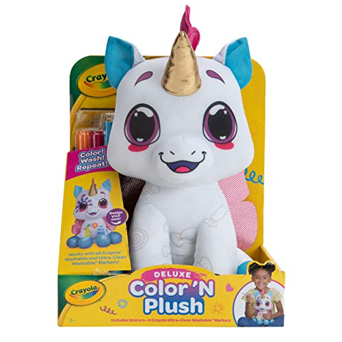 "Crayola Deluxe Color 'N Plush Unicorn, 10"" Stuffed Animals, Puppy, Unicorn, Kitty, Llama, Draw, Wash, Reuse – with Ultra-Clean Washable Fine Line Markers, Broad Line Markers, Stamper Marker"