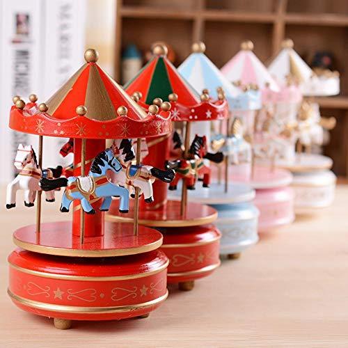 selfdepen Hölzerne Karussell-Spieluhr, handbemalt, umweltfreundlich ungiftige Sprühfarbe Sky City konische Klassische Spieluhr Geburtstagsgeschenk - 3