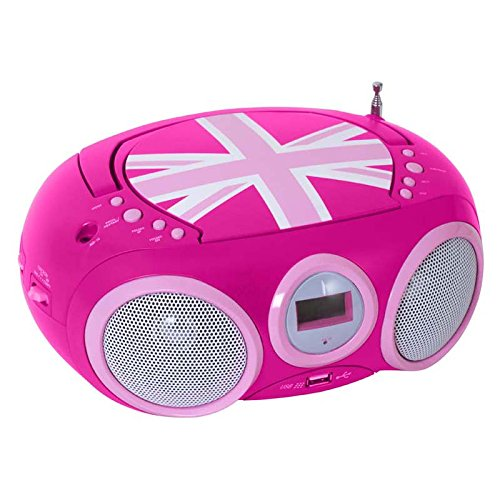 BigBen - AU327434 - Tragbares CD/Radio CD32 - Union Jack in Pink