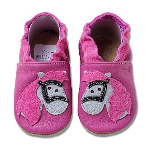 HOBEA-Germany Krabbelschuhe für Mädchen, Schuhgröße:24/25 (24-30 Monate), Modell Schuhe:Pferd pink
