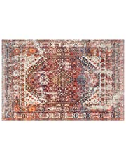 Traditional Vintage Oriental Area Rug, Red, Floor Carpet for Living Room Bedroom Easy Clean