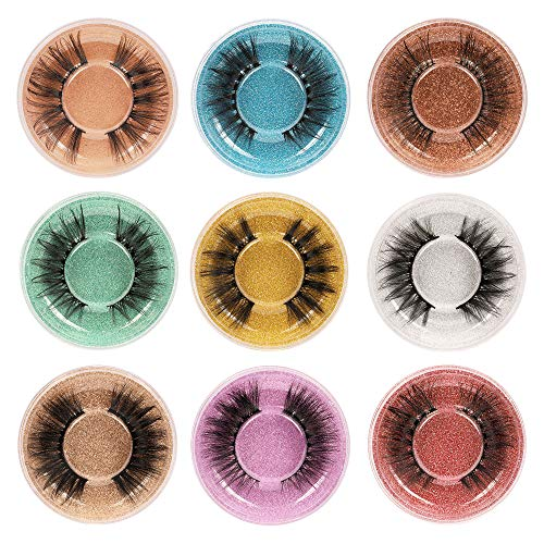9 Styles Mixed False Eyelashes 3D Volume Faux Mink Lashes ALPHONSE Natural Look Wispy Fake Eyelashes Bulk with Glitter Eyelash Boxes Pack 9 Pairs