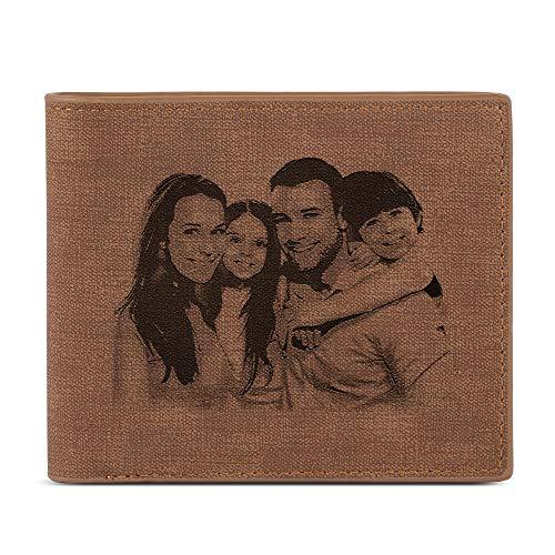 Alskafashion Cartera Billetera Personalizado de Foto Hombre Plegable Cuero Regalo para Familia Novio (Talla de Sombra marrón)