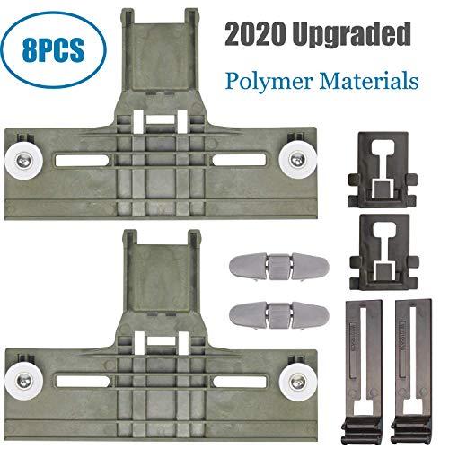 Upgraded 8 Packs Polymer Material W10350375 Dishwasher Top Rack Adjuster & W10195840 Dishwasher Positioner & W10195839 Dishwasher Rack Adjuster & W10508950 Stop Track Fit for Whirlpool WDTA50SAHZ0