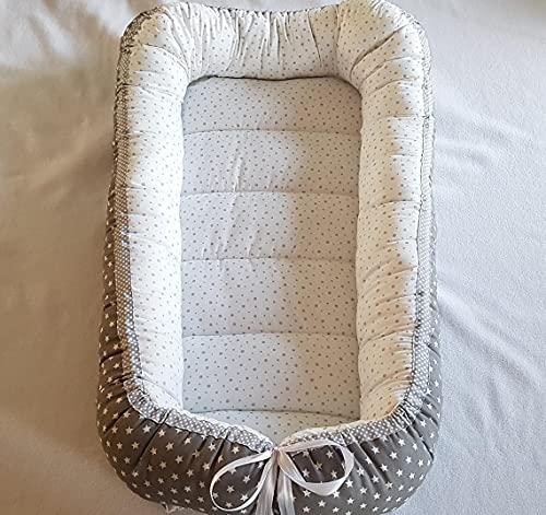 Nido de bebé, Nido de bebé, Reductor de cama, Capullo de bebé - Lunares/Estrellas - Tejido OEKO-TEX