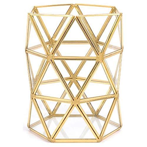 JIANWEI Tubo De Almacenamiento De Vidrio Irregular Nórdico Oro Belleza Cepillo Tubo Bronce Maquillaje Brocha Cubo De Almacenamiento Caja De Almacenamiento Simple
