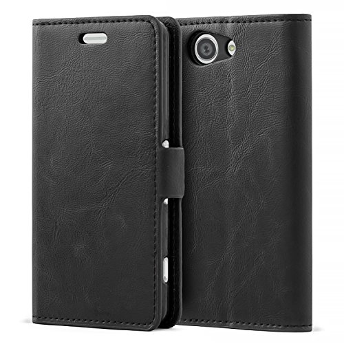 Mulbess Handyhülle für Sony Xperia Z3 Compact Hülle Leder, Sony Xperia Z3 Compact Handy Hüllen, Flip Handytasche Schutzhülle für Sony Xperia Z3 Compact Case, Schwarz