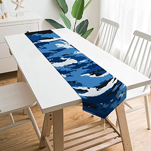 QSMX Fall Table Runners with Tassels for Family Dinner, Outdoor or Indoor Parties, Farmhouse, Thanksgiving, Christmas & Gathering&Halloween(13 X 70 Inches) Abstract Camouflage Marine Background