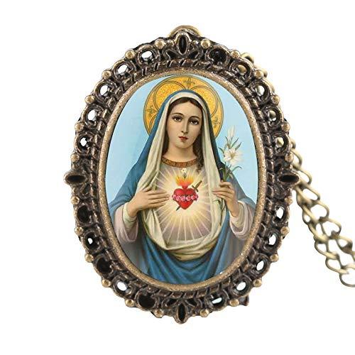 Reloj De Bolsillo De Bronce con Patrón De La Virgen María para Mujer Relojes De Bolsillo Digitales Árabes para Dama El Mejor Reloj De Bolsillo De Regalo para Niña