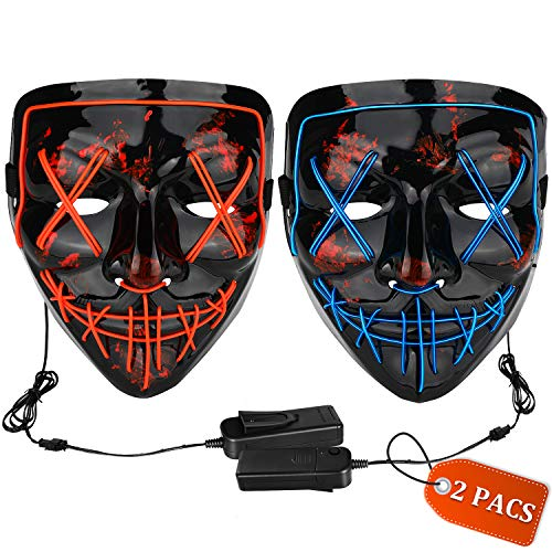 Halloween Mask LED Light up Mask (2 Pack) Scary mask for Festival Cosplay Halloween Costume Masquerade Parties,Carnival (Red+Blue)