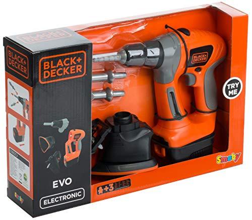 Brandsseller Akku Spielzeug 4-in-1 - Bohrer - Stichsäge - Schrauber - Dreiecksschleifer - Black+Decker Werkzeug für Kinder Orange/Grau/Schwarz