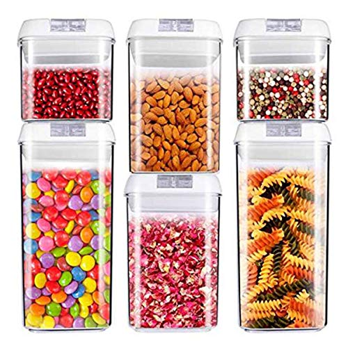 Air-Tight Food Storage Container Set [6-Piece Set] - Pantry Durable Seal Pot - Cereal Storage...