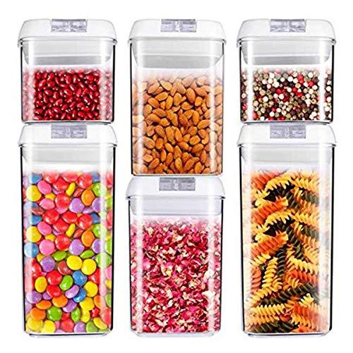 Récipient à nourriture, hermétique à céréales et nourriture sèche de stockage – Lot de 6 – Plastique durable de qualité alimentaire sans BPA – Garde la nourriture au sec et frais avec Easy Lock