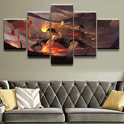 5 Canvas paintings Modern Canvas Painting Living Room HD One Piece Anime Home Decor Printed Pictures Wall Artwork Poster Frameless