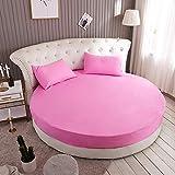 LPNJLALA Baumwolle Rundbett Spannbettlaken Runde Bedspread Anti-Rutsch-Matratzenbezug Romantisches Solid Color Round-Bett-Blatt,Farbe 13,1pc 200cm Blatt - 2