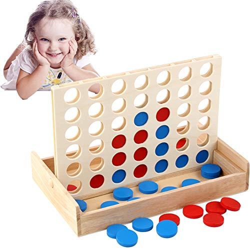 Xiton Spiel Vier in Einer Reihe Holz-Spiel-Klassiker Convertible Brettspiel Spielzeug Für Interaktive Spiele Zwei-Spieler-Spiele (1 Set)