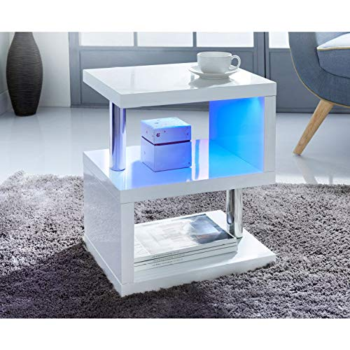 spot on dealz High Gloss 2 Tier Side/Coffee Table With LED Light Stunning Modern Look With Steel Tubes Living Room Decor-White