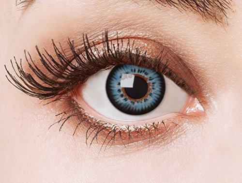 aricona Kontaktlinsen - deckend blaue natürliche Kontaktlinsen ohne Stärke - Farbige Manga Cosplay Kontaktlinsen blau ohne Stärke, 2 Stück