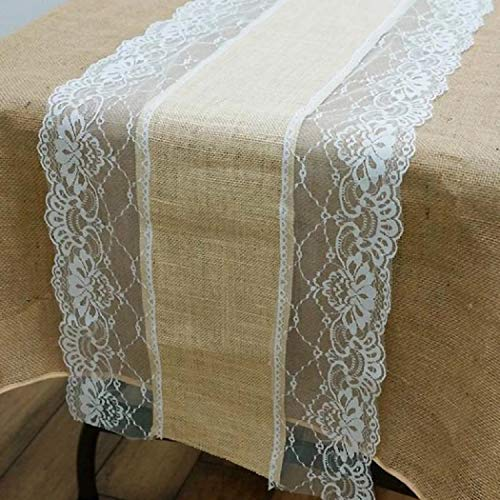 """Efavormart 12"""" x 108"""" Rustic Fine Burlap Modern Table Runner  Natural Tone & Color Floral Lace   Best for Wedding Outdoor Indoor Family Dinner Dining & Tea Party"""