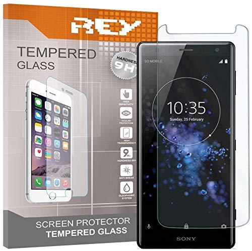 REY Pack 3X Panzerglas Schutzfolie für Sony Xperia XZ2, Bildschirmschutzfolie 9H+ Festigkeit, Anti-Kratzen, Anti-Öl, Anti-Bläschen
