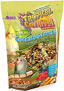 F.M. Brown's Tropical Carnival Natural Cockatiel-Lovebird Food, 2.5-lb Bag - Vitamin-Nutrient Fortified Daily Diet with Na...