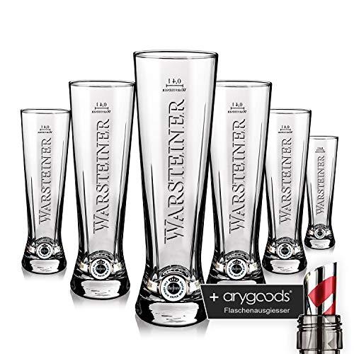 6X Warsteiner vetro Bicchieri 0,4l Premium Cup Relief Gastro decorazione bar + anygoods bottiglia beccuccio