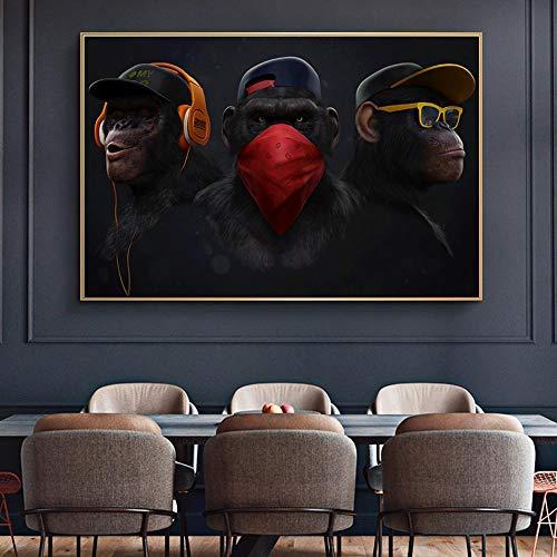 """HYFBH Dark Wise 3 Monkeys Tierbild Leinwand Wandkunst Poster und Drucke Gorilla Malerei Wohnkultur Wohnzimmer Dekoration 28""""x41 (70x105cm) Mit Rahmen"""