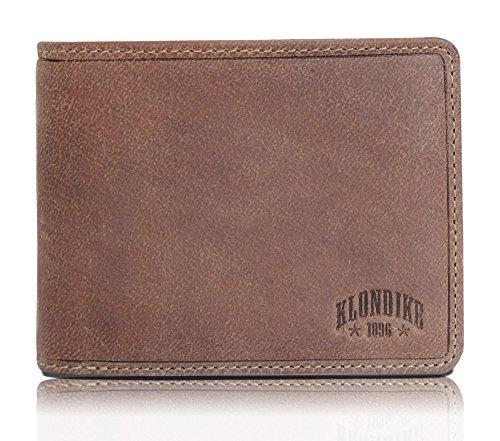 """Klondike 1896 Geldbörse aus echtem Leder """"Rob"""", hochwertiges Echtleder Portemonnaie für Damen und Herren, braun"""