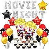 JOYMEMO Décorations de Ballon de Nuit de Film Ballons en Feuille d'étoile de maïs soufflé pour Hollywood sur Le thème des Oscars, Pack de fête du Temps de cinéma