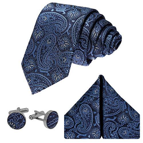 GASSANI Herrenkrawatte Schmal Paisley-Muster, Dunkel-Blaue Hochzeitskrawatte Gemustert, Einstecktuch Manschettenknöpfe Z. Hochzeits-Anzug Weste Sakko