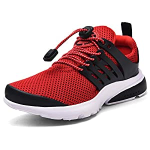 Boys Girls Sneakers Kids Running Sports Tennis Athletic Slip on Walking Jogging Shoes Non-Slip Lightweight Breathable Shoes for Little Kids/Big Kids Red