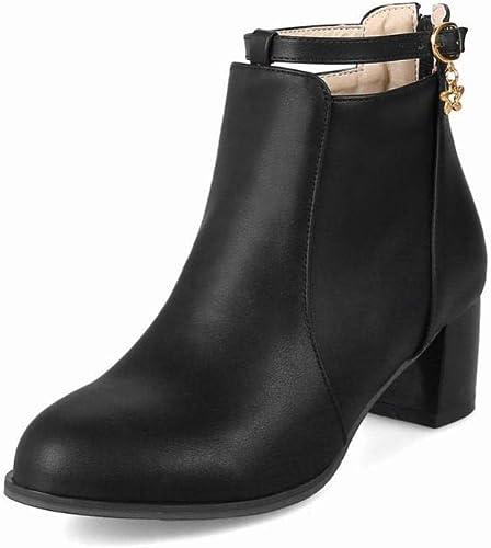 Fuxitoggo Stiefel para damen - Stiefel de Invierno de tacón Alto Stiefel Martin Stiefel de Moda para damen schuhe de Gran tamaño para damen 35-43 (Farbe   schwarz, tamaño   43)