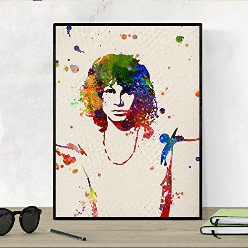 Nacnic Stampa Artistica in Stile acquarello del Volto di Jim Morrison. Colori Vivaci. Ritratto. Immagine Stampata su Carta da 250 Grammi di Alta qualità. Icona della Musica Mondiale.